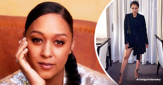 Tia Mowry de 'Sister, Sister' Bares Seductive Legs in Belted Black Mini-Dress Nude High Heels for the NBA All-Star