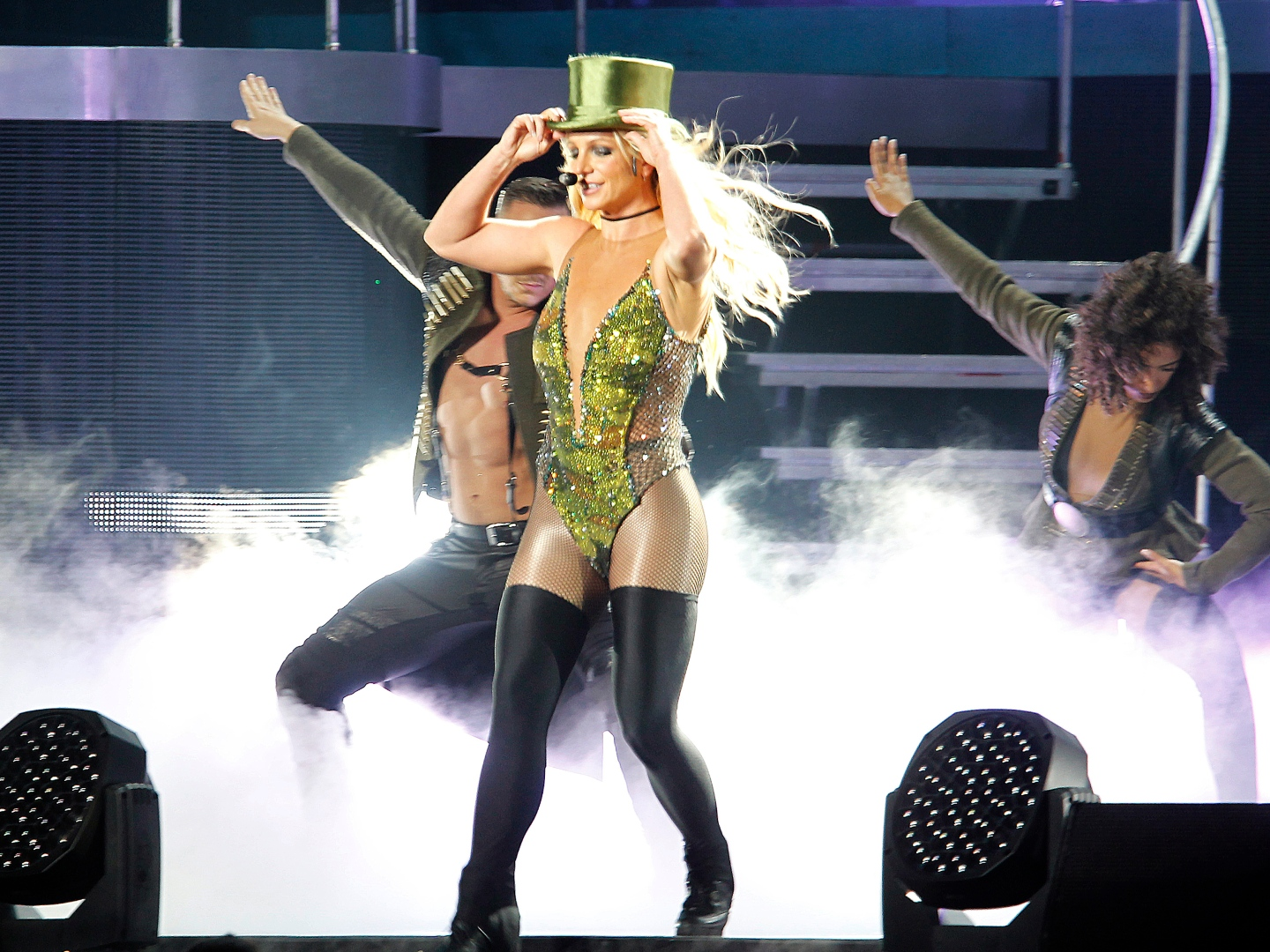 Britney Spears sings during her concert