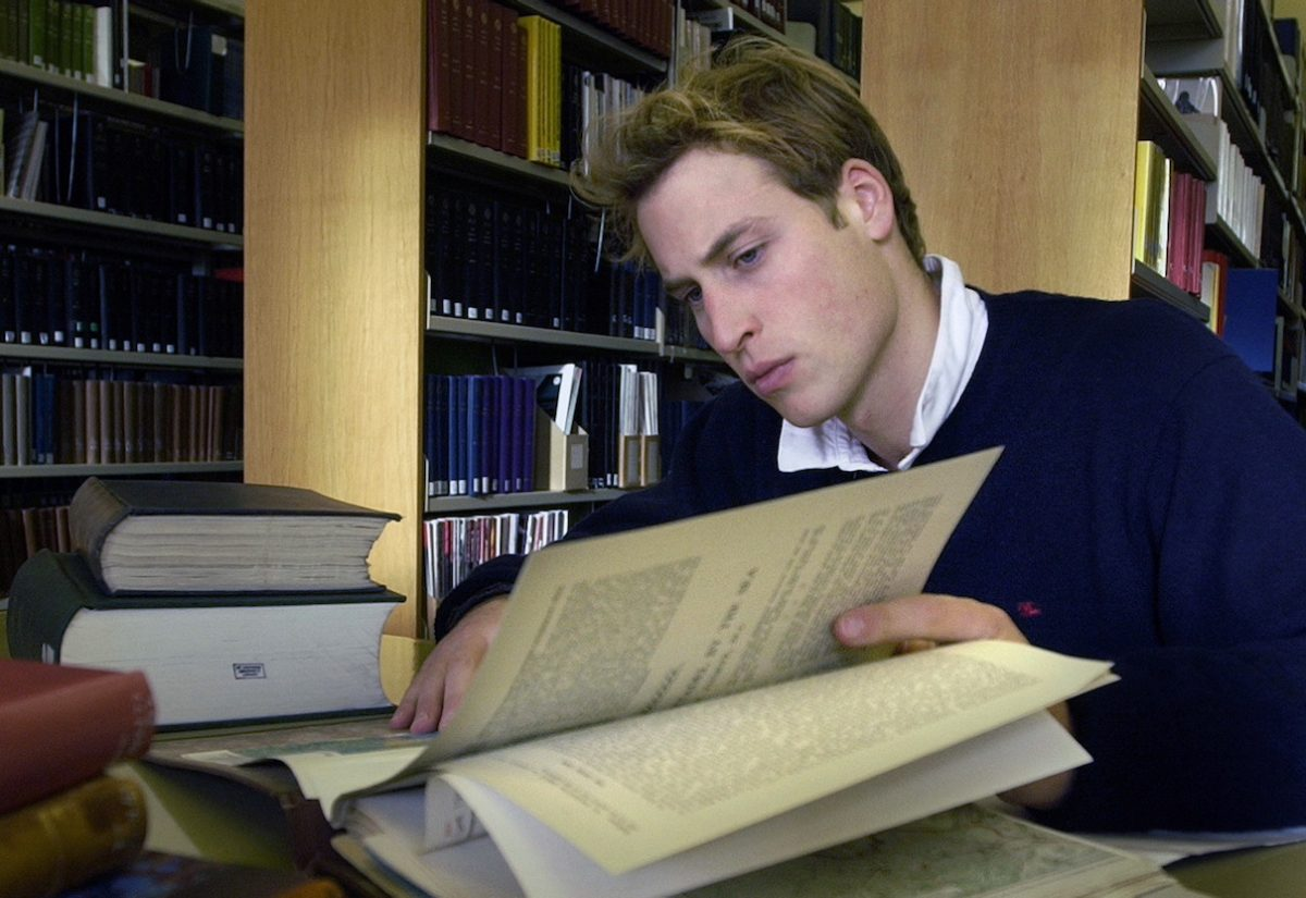 Prince William in the library at the University of St. Andrews